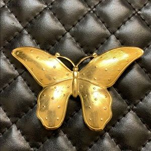 Vintage Large Gold Repurpose Butterfly Brooch